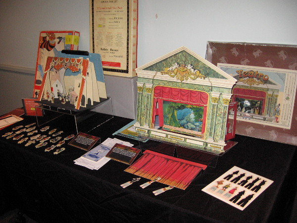 A variety of paper toy theaters and related items are on display at the festival.