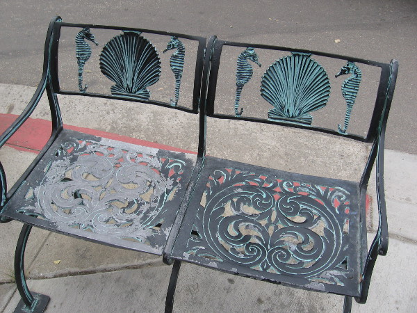 I'm not tired yet, but here's a cool bench with seahorses and shells.