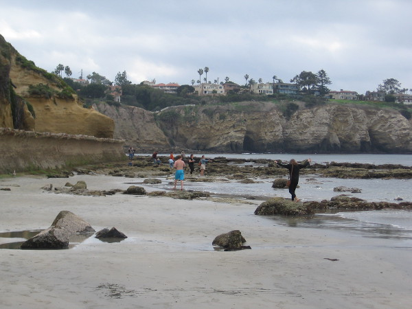 Now we are approaching some tide pools at the south end of the La Jolla Shores beach.
