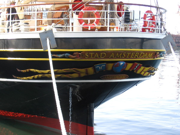 Close photo of the stern of Stad Amsterdam.