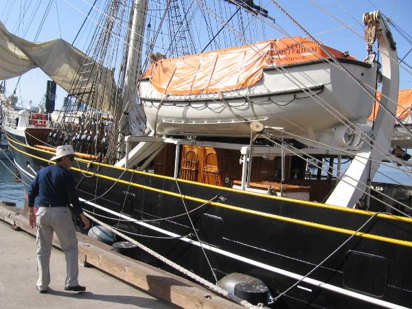 Walking along the Embarcadero looking at the beautiful visiting tall ship.