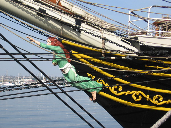 I asked about the figurehead of the Stad Amsterdam and was told it doesn't represent any particular person. The female holds a globe and points forward into the future.