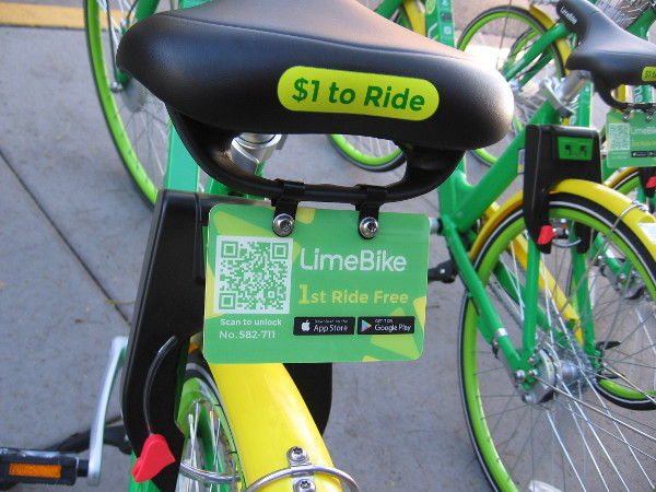 The 1st ride of a LimeBike is free! They cost is only one dollar per half hour!