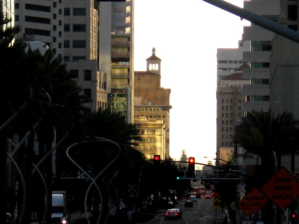 Gazing east down Broadway in San Diego very early one morning.