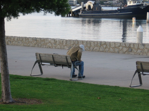 Someone is about to stand up from a bench near the water at Ruocco Park.