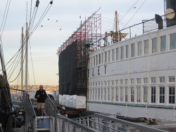 Scaffolding along a section of the steam ferryboat Berkeley's south-facing side. Restoration has begun.