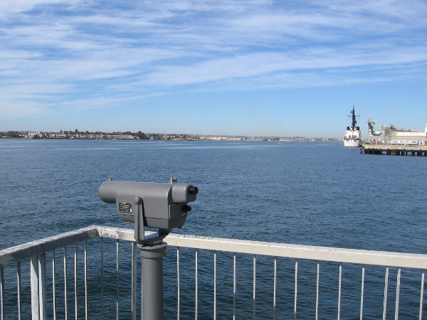 There are expansive views from Cesar Chavez Park pier. Across the bay lies Coronado Island.