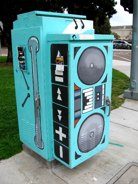 An electrical box painted like a huge boom box near UCSD's Gilman Transit Center.