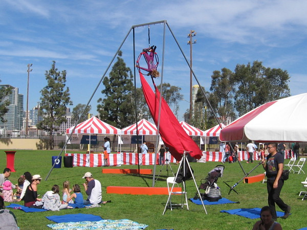 An aerial silk performer takes to the air above the grassy park.