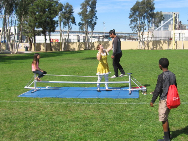 A small circus school at the event showed people how to walk a tightrope!