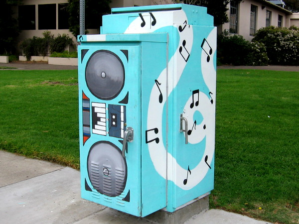 Musical notes stream from an enormous boom box at UC San Diego!