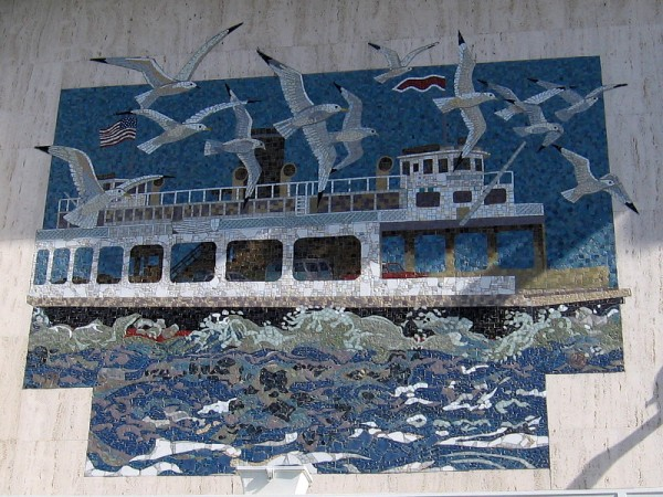 Mosaic on Walgreens building in Coronado depicts an old ferry crossing San Diego Bay.