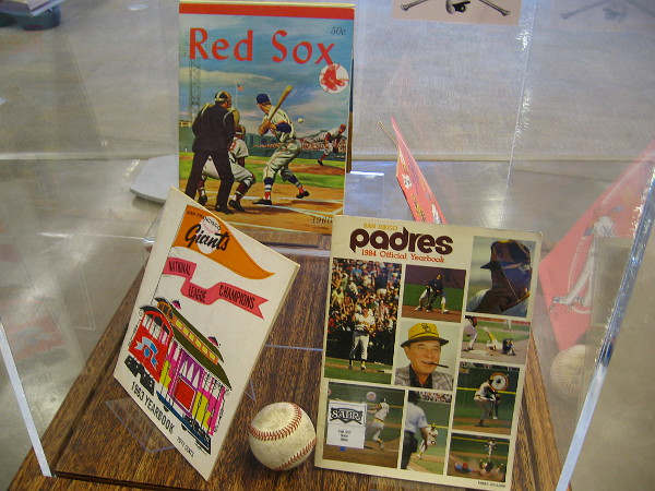 Official baseball Yearbooks on display include one featuring the National League pennant winning 1984 Padres!