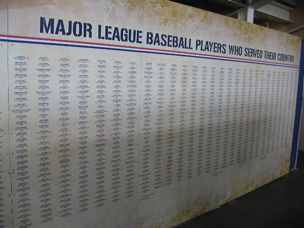 A nearby wall in the Power Alley lists the many Major League Baseball Players Who Served Their Country.