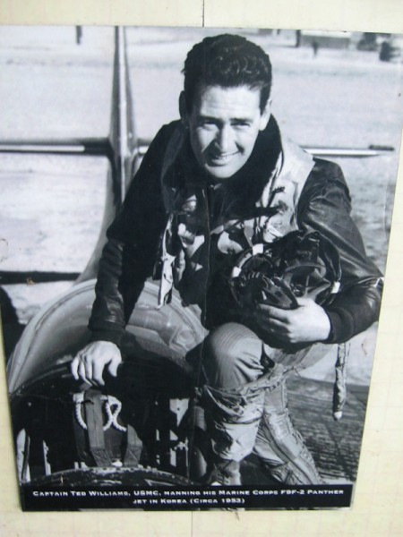 Captain Ted Williams, USMC, manning his Marine Corps F9F-2 Panther jet in Korea, circa 1953.