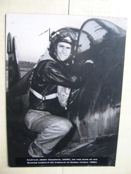 Captain Jerry Coleman, USMC, on the wing of his Marine Corps F-4U Corsair in Korea, circa 1952.