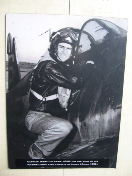 Captain Jerry Coleman, USMC, on the wing of his Marine Corps F-4U Corsair in Korea, circa 1952.