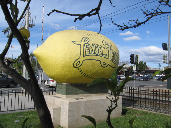 An enormous yellow lemon welcomes travelers passing through the heart of Lemon Grove, a community east of downtown San Diego.