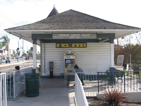 The Lemon Grove Trolley Depot is a 1986 replica of the original 1895 train depot, which stood near the Lemon Grove Store and a fruit-packing shed.