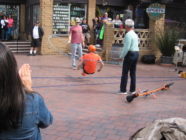 Wacky Chad jumps rope every which way. An exhibition of amazing physical dexterity.