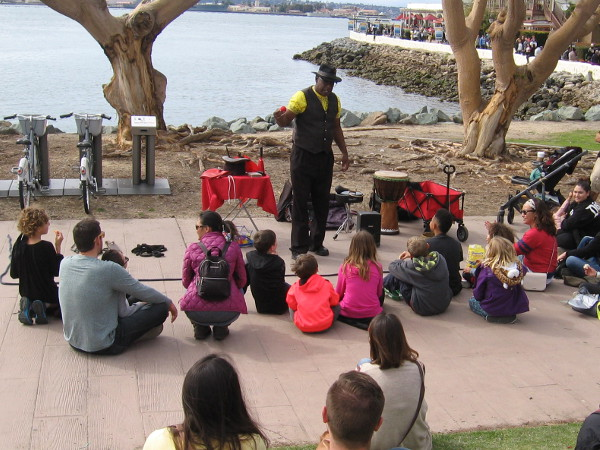 Extreme Rahim prepares to wow his audience with magic and positive clean humor. I often see him performing at Seaport Village.