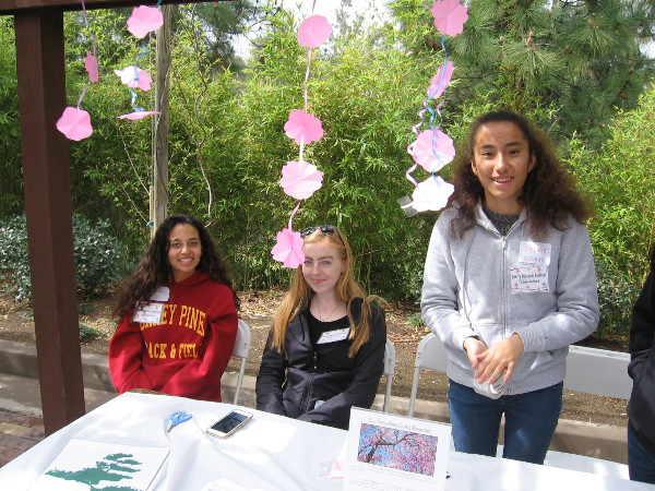 Smiling young ladies were showing visitors how to fold bits of pink paper into cherry blossoms!