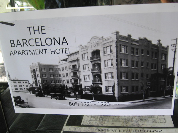 Old photo of The Barcelona Apartment-Hotel in Bankers Hill, built 1921-1923.