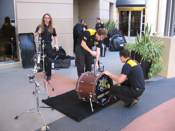Wichita State band members by downtown hotel gets instruments ready for their NCAA basketball tournament game that was held at SDSU's Viejas Arena.