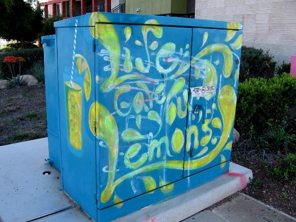 Fun street art near the Lemon Grove Trolley Depot provides tasty advice for those times when life gives you lemons...