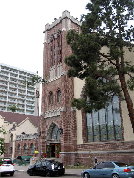 View of the church's south side along Date Street.