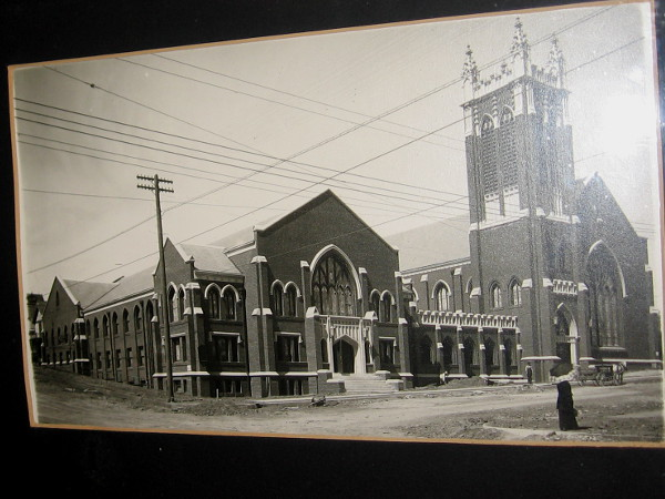 An historical photo near the church office shows the First Presbyterian Church of San Diego about a hundred years ago, in what was then considered the outskirts of town.
