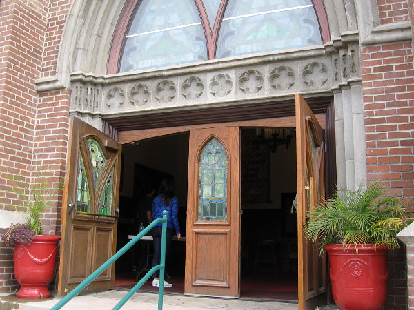 Entering doors that lead to the magnificent sanctuary.