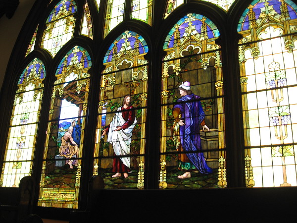 One of the finest examples of stained glass in San Diego shines light into the historic church.