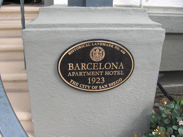 City of San Diego historical landmark plaque near entrance to The Barcelona.