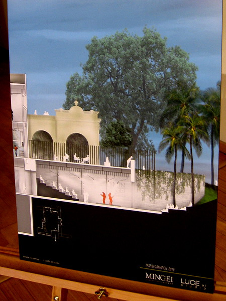 Images were displayed after a talk by celebrated architect Jennifer Luce. This one shows a theater space to be added to the building's southeast corner.