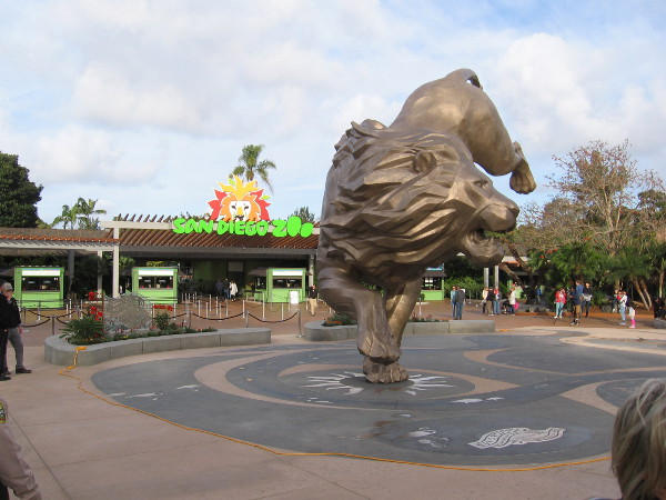The 27-foot 10 ton sculpture of a lion that inspired the San Diego Zoo's founding stands in a newly renovated plaza by the zoo's entrance.