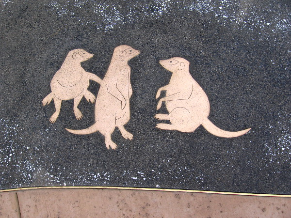 In the plaza around the base of the Rex lion sculpture are a bunch of fun inlaid animals.