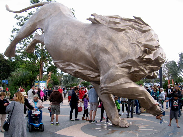 A gigantic golden lion now guards the entrance to the San Diego Zoo. It's Rex!