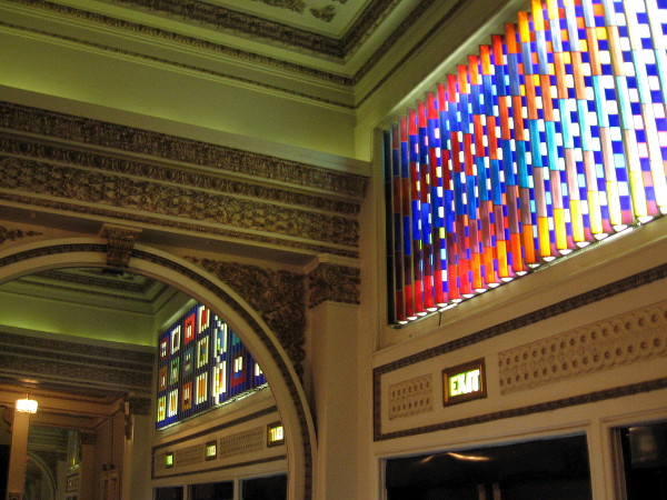 We've stepped into the lobby of the theatre. The amazing glass artwork above the entrance was created in 1983 by Yaakov Agam, commissioned by theatre President, Jacquelyn Littlefield.