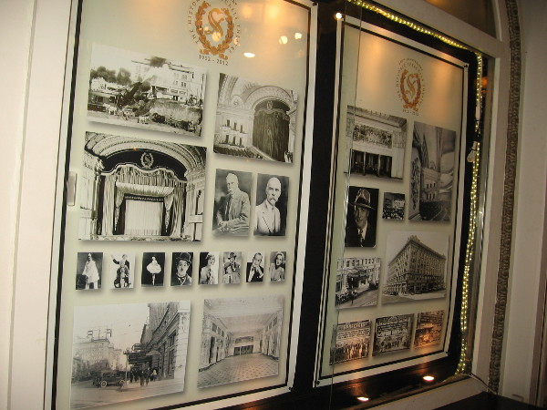 Old photos in glass displays behind the lobby counter show the historic building, past movie stars and John D. Spreckels.