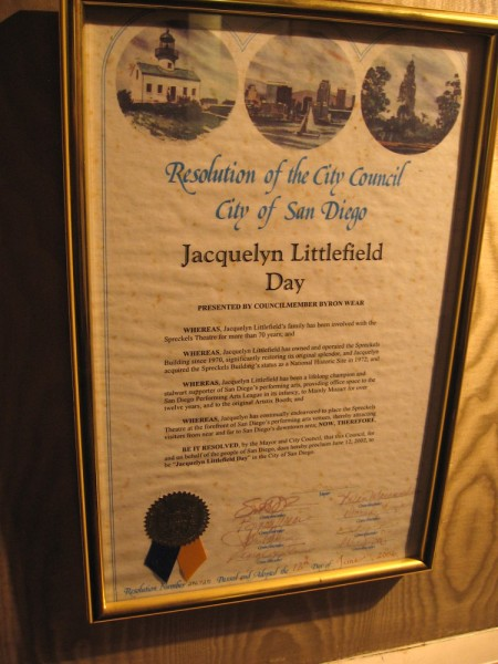 Resolution by San Diego City Council honoring Jacqelyn Littlefield Day, owner and operator of the beautiful Spreckels Theatre since 1970.