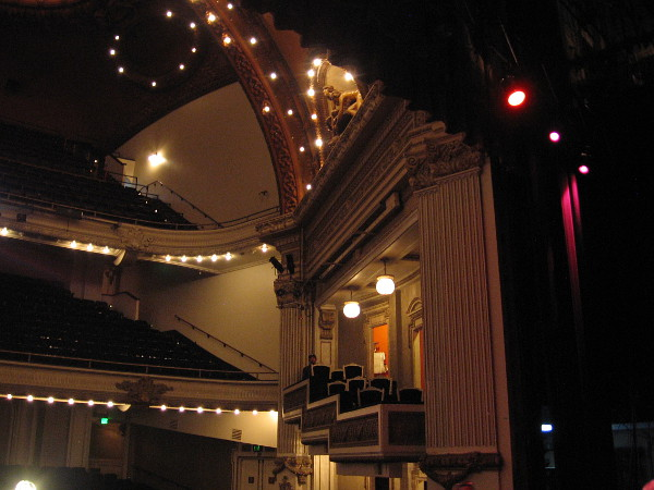 Looking out toward some seats from the theatre's stage.