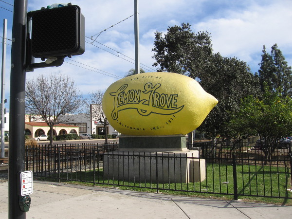The historical legacy of Lemon Grove is remembered around the site of the old train depot, which is now a stop of the San Diego Trolley.