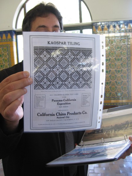 The depot's glazed Kaospar tiling was created by California China Products Co. of National City, the same company that produced tile for Balboa Park's 1915 exposition.