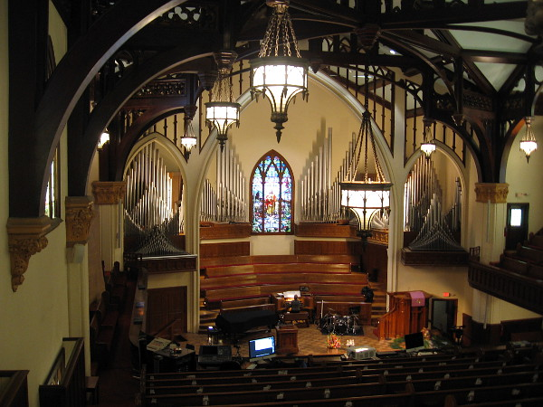 Playing the organ inside the beautiful First Presbyterian Church of San Diego.