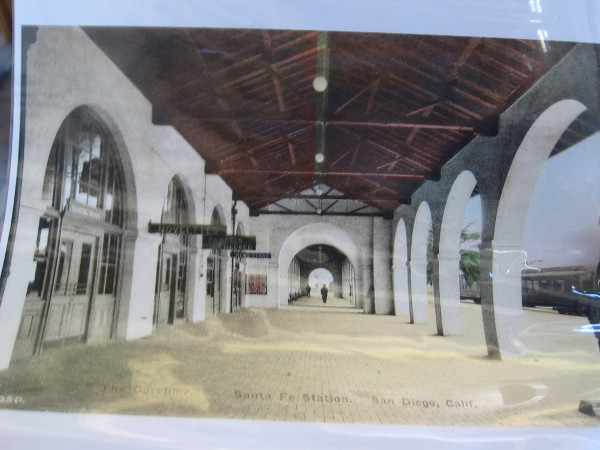 Our tour guide collects old postcards. Here's another that shows the arched west side of the depot, beside the railroad tracks.