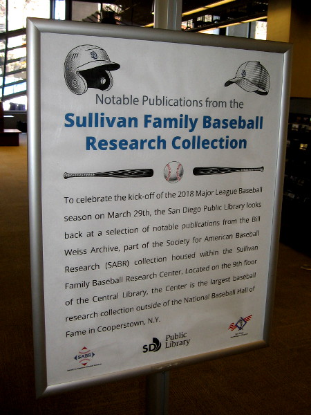 Notable Publications from the Sullivan Family Baseball Research Collection are now on display on the first floor of the San Diego Central Library.