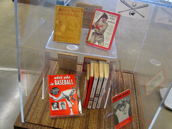 Issues of Who's Who in Baseball on display at the San Diego Central Library.