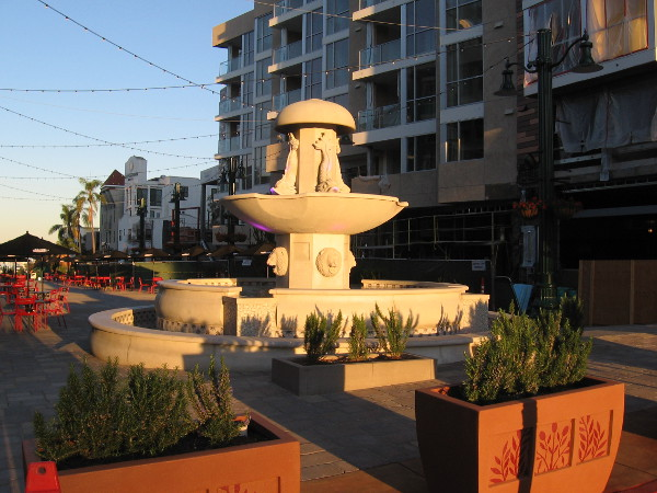 The illuminated fountain adds a touch of beauty to the European-style piazza in Little Italy.