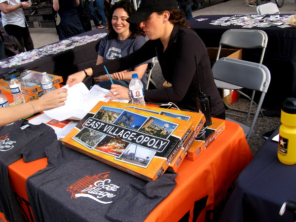 Ladies at one table were showing off the East Village-opoly board game!